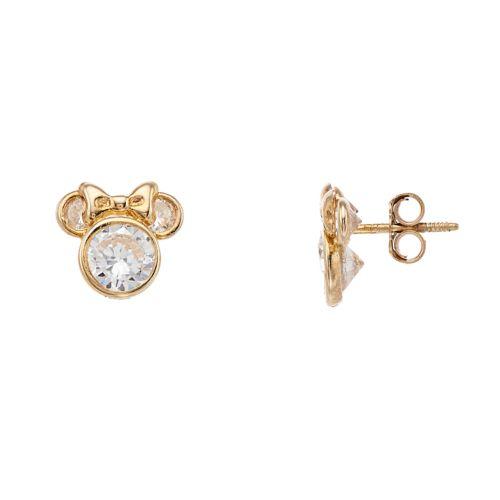 Disney 10k Gold Cubic Zirconia Minnie Mouse Stud Earrings by Kohl's