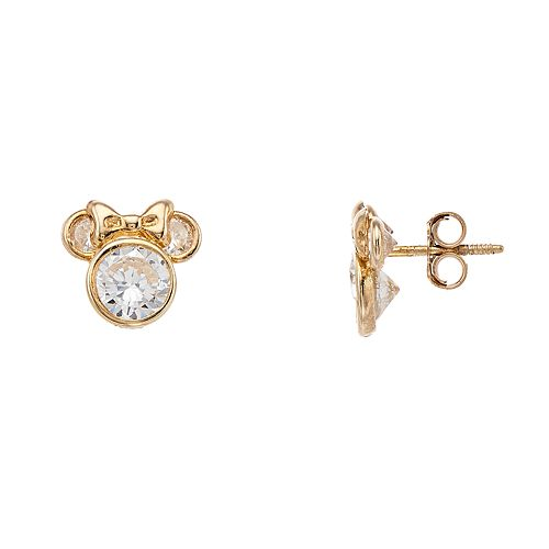 9ca955156 Disney 10k Gold Cubic Zirconia Minnie Mouse Stud Earrings