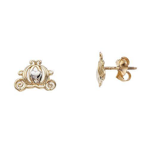 Disney 10k Gold Carriage Stud Earrings