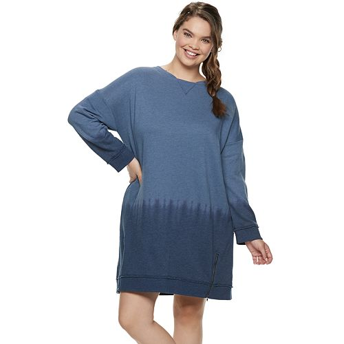 Juniors' Plus Size Mudd® French Terry Zip Sweatshirt Dress
