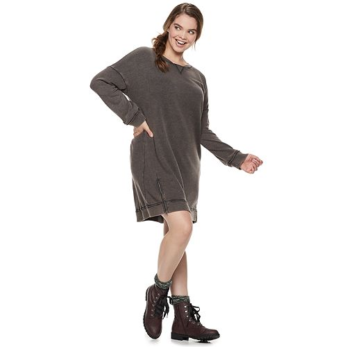 Juniors' Plus Size Mudd® French Terry Zip Sweatshirt Dress