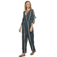 Juniors' Speechless Tie Sleeve Jumpsuit