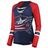 Women's Columbus Blue Jackets Lace-Up Tee
