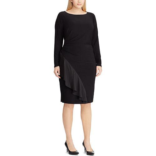 Plus Size Chaps Ruffle Sheath Dress