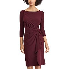Petite Chaps Knot-Front Ruffle Sheath Dress