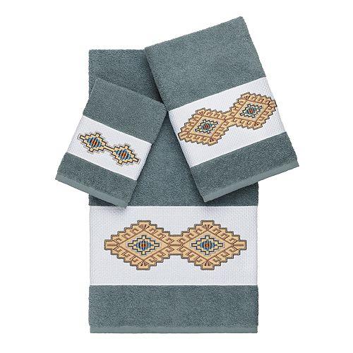 Linum Home Textiles 3-piece Turkish Cotton Gianna Embellished Bath Towel Set