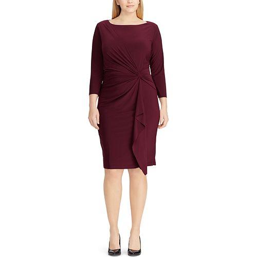 Plus Size Chaps Knot-Front Ruffle Sheath Dress