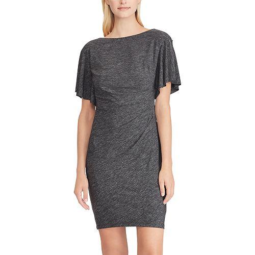 Women's Chaps Flutter-Sleeve Ruched Sheath Dress
