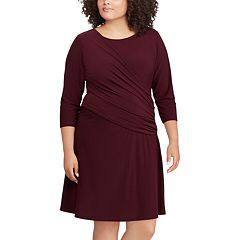 Plus Size Chaps Ruched Fit & Flare Dress