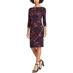 Petite Chaps Floral Ruched Sheath Dress