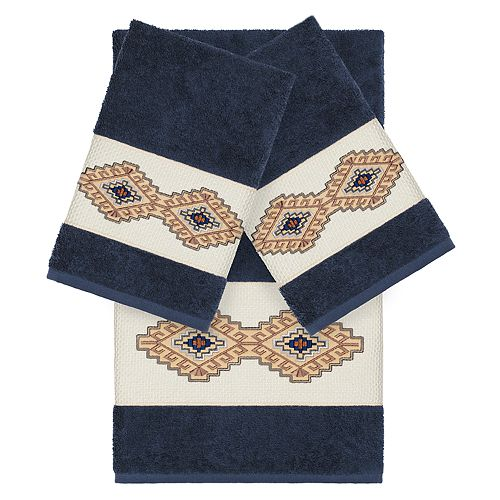 Linum Home Textiles 3-piece Turkish Cotton Gianna Embellished Towel Set