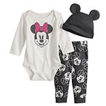 Disney's Minnie Mouse Baby Girl Graphic Bodysuit, Print Pants & Hat Set by Jumping Beans®