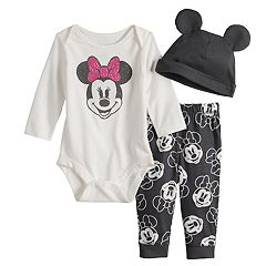 b89488abf Disney's Minnie Mouse Baby Girl Graphic Bodysuit, Print Pants & Hat Set by  Jumping Beans