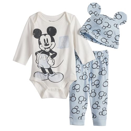 Disney's Mickey Mouse Baby Boy Graphic Bodysuit, Print Pants & Hat Set by Jumping Beans®