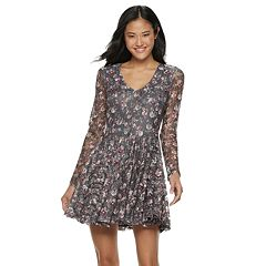 Juniors' Rewind Floral Lace Skater Dress