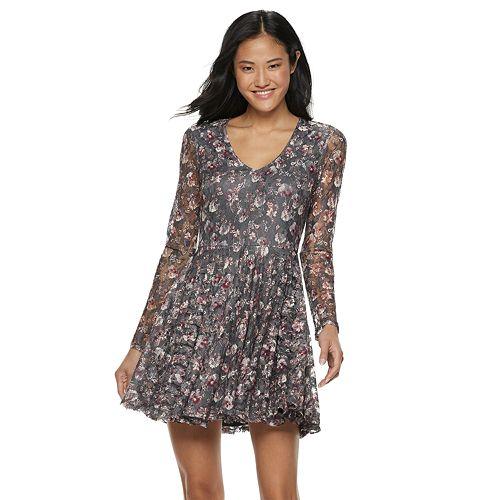 Juniors' Rewind Floral Lace Skater Dress
