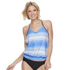 Women's Free Country Striped Blouson Racerback Swim Top