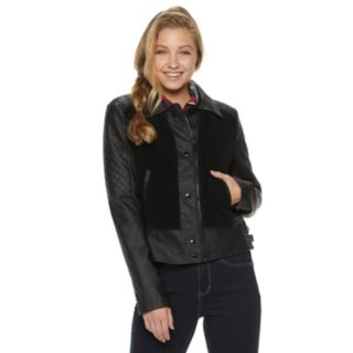 Juniors' Pink Envelope Mixed-Media Faux-Leather Jacket