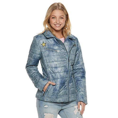 Juniors' Pink Envelope Asymmetrical Moto Jacket
