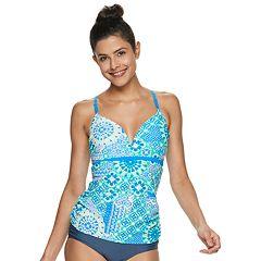 2718bca304 Women's Free Country Print Strappy Racerback Swim Tankini. Azure Jade Lagoon  Ultraviolet Slate