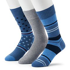 Men's Marc Anthony 3-pack Dot, Striped & Solid Crew Socks