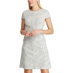 aab006e5d30 Women s Chaps Brushed-Stripe Fit   Flare Dress