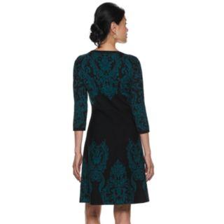 Women's Dana Buchman Scroll Fit & Flare Sweater Dress