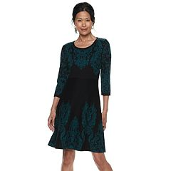 Women's Dana Buchman Scroll Fit & Flare Sweater Dress