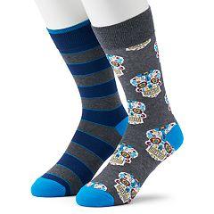 Men's Apt. 9® 2-pack Skulls & Stripes Fashion Crew Socks