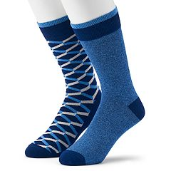 Men's Apt. 9® 2-pack Zigzag & Solid Fashion Crew Socks