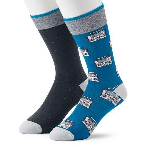 Men's Apt. 9® 2-pack Boom Box & Dot Fashion Crew Socks