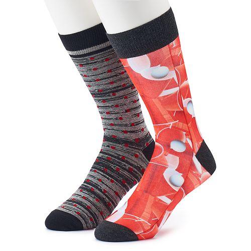 Men's Apt. 9® 2-pack Red Cup & Dot Fashion Crew Socks