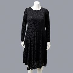 Plus Size Simply Vera Vera Wang Flocked Velvet Dress