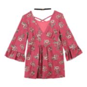 Girls 7-16 IZ Amy Byer Floral Bell Sleeve Lace-up Back Tunic with Choker Necklace
