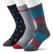 Men's Funky Socks 3-pack Holiday Patterned Casual Crew Socks