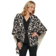 Women's Dana Buchman Leopard Draped Poncho
