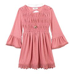 Girls 7-16 IZ Amy Byer Ruched Bodice Back Cutout Tunic with Necklace
