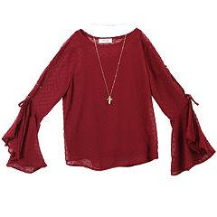 Girls 7-16 IZ Amy Byer Lace-Up Bell Sleeve Top with Necklace