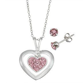 Charming Girl Kids' Sterling Silver Pink Crystal Heart Pendant & Stud Earring Set
