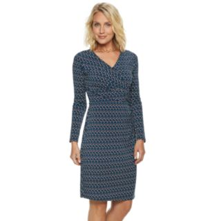 Women's Dana Buchman Travel Anywhere Print Faux-Wrap Dress