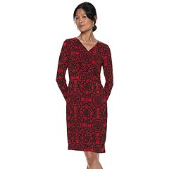 Women's Dana Buchman Travel Anywhere Print Faux-Wrap Dress