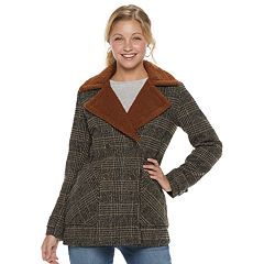 Juniors' Coffee Shop Plaid Wool-Blend Double-Breasted Jacket
