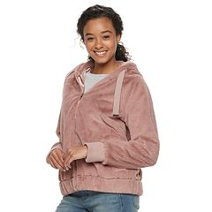 Juniors' Coffee Shop Faux-Fur Hoodie