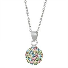 Charming Girl Kids' Sterling Silver Pastel Crystal Fireball Pendant