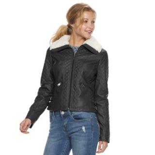 Juniors' Coffee Shop Faux-Leather Jacket