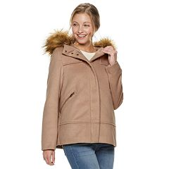 Juniors' Coffee Shop Hooded Wool-Blend Coat