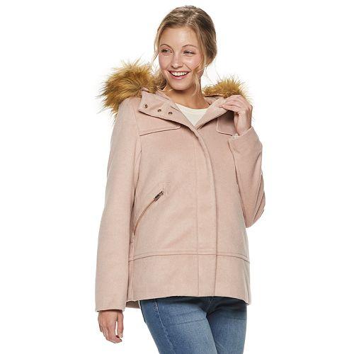 Juniors' Coffee Shop Hooded Wool-Blend Coat