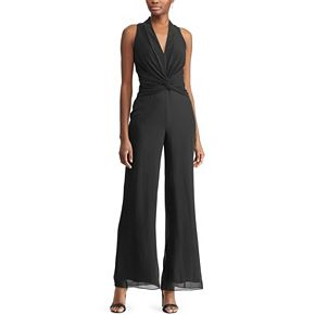 Women's Chaps Twist-Front Wide Leg Jumpsuit