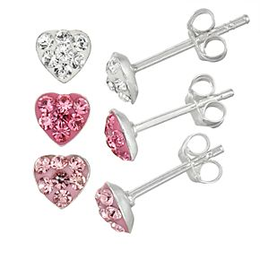 Charming Girl Kids' Sterling Silver Crystal Heart Stud Earring Set - 3 Pair