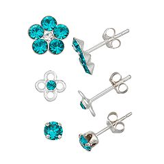 Charming Girl Kids' Sterling Silver Crystal Flower Stud Earring Set - 3 pair